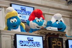 The Smurfs join us at the NYSE Trading Floor for the Opening Bell on July 29, 2011, to celebrate its theatrical release. (Photo by Ben Hider/NYSE Euronext)