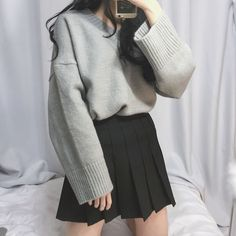 korean fashion black tennis skirt grey sweater casual winter street