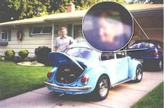 This picture was taken in the 60's when a family had bought a new car. There was nobody in either car at the time so it was a real shock for them to find they had taken a ghost picture. What made it even more of a shock was that the face looked very much like the dead father of the man posing for the picture. The same man that had taught him how to drive years before.