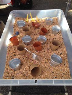 Bird seed sensory play tray