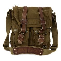 Large Man Mountain Brown Canvas Bag ($235) ❤ liked on Polyvore