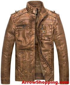 f6dc128917c Arrow Mens Vintage Stand Collar Leather Jacket - uouuoe