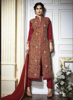 Buy Maroon colour georgette party wear straight cut salwar kameez at kollybollyethnics with free worldwide shipping.