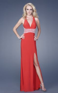 Red Column Halter Open Back Side Slit Sweep Train Floor Length Chiffon Evening Dress