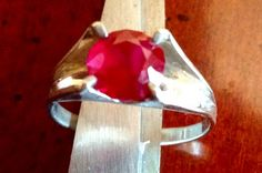 Beautiful Vintage Red Stone On Silver Tone by FancyThatBlingCo