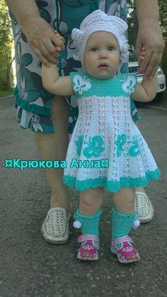 Crochet Dress Girl, Crochet Bebe, Baby Girl Crochet, Crochet Baby Clothes, Crochet For Kids, Knit Crochet, Crochet Hats, Girl Dolls, Baby Dress