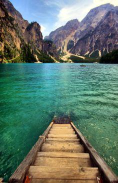 Step into Braies Lake. Italy.