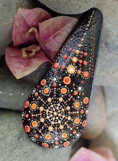 painted rocks painted stone mandala rocks orange by KarinGetazArt