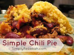 Simple Chili Pie - Easy, Yummy, and Kid Friendly! | SimplyRebekah.com