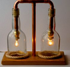 Copper Lamp Glass Lamp Steampunk Lamp Seaside Style by MarzaShop, $100.00