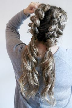 Watch how to do your own jumbo pull through braid pigtails perfect for day to day the gym or date night Check out this beautiful tutorial ponytails braids hairstyles cute. Pigtail Hairstyles, Cool Braid Hairstyles, Hairstyles With Bangs, Trendy Hairstyles, Date Night Hairstyles, Black Hairstyles, Flower Hairstyles, Updos Hairstyle, Asymmetrical Hairstyles