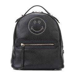 YOURNELO Woman's Cute Black Smile Emoji Genuine Leather Laptop Backpack Bookbag