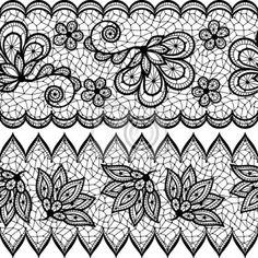 Dentelle Dessin papier peint vieux motif de dentelle transparente, bordure