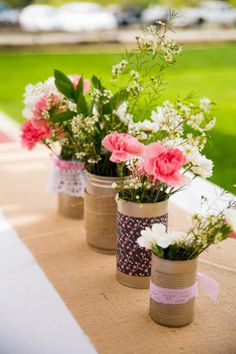 Pony Themed Birthday Party - Vintage and Burlap wrapped Jars and cans filled with roses and wild flowers make a charming centerpiece