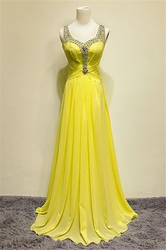 Cheap gowns robes, Buy Quality gown shoes directly from China gown beaded Suppliers: New Arrival Vestidos De Feata A-Line Prom Dresses Yellow Chiffon Beaded Crystal Pleats Floor Length Prom Gowns Sequin Prom Dresses, Beaded Prom Dress, A Line Prom Dresses, Homecoming Dresses, Sexy Dresses, Prom Gowns, Party Dresses, Ball Gowns, Dress Party