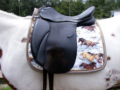 Quilted Dressage Saddle Pad 'horses In The Snow' Design