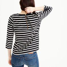 Striped T-shirt with back zipper : Women Long sleeve | J.Crew