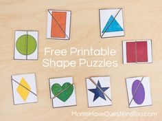 Two Part Shape Puzzle Printables - Free printable and a great way to teach shapes!