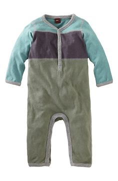 Nice PJ - Tea Collection Colorblock Henley Romper (Baby Boys) available at #Nordstrom