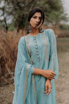 Powder Blue Chanderi Silk Embroidered Kurta, Powder Blue Banarasi Palazzo, Tulle Net Embroidered Dupatta. Fabric: Chanderi; Silk; Net CARE: Dry Clean Only
