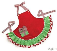 Christmas Present Apron - Roses And Teacups
