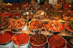Different Kinds of Kimchi, spicy pickled cabbage