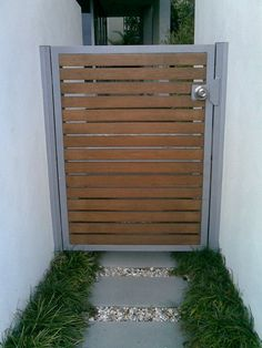 concrete patio with timber inserts Wooden Garden Gate, Wooden Gates, Garden Doors, Side Gates, Front Gates, Front Fence, House Outer Design, Wooden Gate Designs, Gate Lights