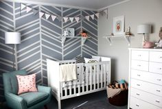Project Nursery - Nursery with DIY Herringbone Feature Wall - Love the wall pattern - grey and white wall, could be done with any colour