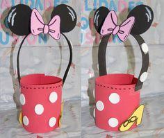 No sabes dónde poner tus chuches en una fiesta?... Esta es una idea; dulceros de Mickey y Minnie Mouse.