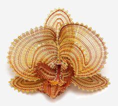 N174 - Foto Orchidee Phalenopsis Lace Art, Lace Jewelry, Bobbin Lace, Contemporary Design, Tatting, Beads, Creative, Pattern, Crafts