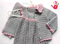 Dress and matching sweater, lovely and practical. Crochet Baby Sweaters, Crochet Baby Clothes, Baby Knitting, Crochet Jacket, Crochet Cardigan, Crochet Accessories, Child Models, Crochet For Kids, Baby Dress