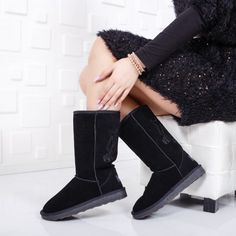 Cizme Aoide negre imblanite Knee Boots, Uggs, Winter, Casual, Shoes, Fashion, Moda, Zapatos, Shoes Outlet