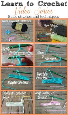 Learn to Crochet Video Series by Katie's Crochet Goodies – FREE! Basic stitches … Learn to Crochet Video Series by Katie's Crochet Goodies – FREE! Basic stitches and techniques —-> www. Crochet Diy, Crochet Simple, Stitch Crochet, Crochet Basics, Learn To Crochet, Crochet Crafts, How To Crochet For Beginners, Diy Crafts, Basic Crochet Stitches