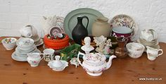 A collection of white floral China