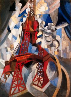 Robert Delaunay, Red Eiffel Tower (La tour rouge), 1911–12. Oil on canvas