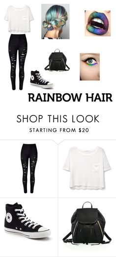 """""""Rainbow Hair"""" by sofvillano ❤ liked on Polyvore featuring beauty, WithChic, MANGO, Converse and Rebecca Minkoff"""