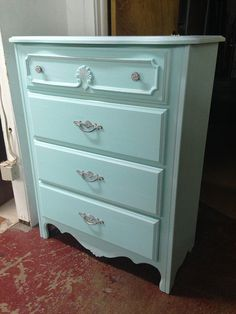 Cool Blue Painted 4 Dr French Provential Chest of Drawers Dresser - SZ x x Blue Gray Bedroom, Blue Rooms, Drawer Bookshelf, French Provincial Furniture, Blue Dresser, Home Garden Design, My New Room, Dream Bedroom, Bedroom Decor