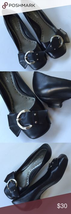 "EUC BCBG leather shoes Excellent condition; Cuter than cute with an edge! Black leather BCBGIRLS 1"" heels with funky bow accent and silver hardware. These shoes are unique and fun! Smoke-free/pet-free home. BCBGirls Shoes"