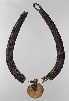 Necklace with Pendant, 16th–18th century  Angola; Chokwe  Wood, ceramic, raffia