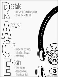 FREE printable for answering open response questions. Perfect for On Demand Writing and Constructed Response (The Brown Bag Teacher) Races Writing Strategy, Race Writing, 5th Grade Writing, Third Grade Reading, Writing Strategies, Teaching Writing, Writing Activities, Teaching Ideas, Guided Reading
