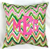 $75 Monogrammed Pink & Green Zig Zag Throw Pillow