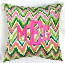 $75 Monogrammed Pink & Green Zig Zag Throw Pillow
