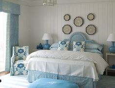 Chic nautical bedroom design ideas and decor inspiration that celebrate life at sea. Nautical bedroom wall decor ideas & other nautical desi. House Of Turquoise, Bedroom Turquoise, Nautical Bedroom, Coastal Bedrooms, Modern Bedroom, White Bedroom, Pretty Bedroom, Turquoise Chair, Master Bedroom