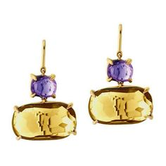 Marco Bicego Murano 18K Yellow #Gold #Amethyst & Citrine Drop #Earrings