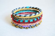 Set of eight colorful crocheted bangles by bibatron on Etsy