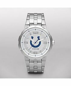 Fossil Indianapolis Colts Men's Logo Watch by Fossil. $104.00. Support your favorite team with our exclusive Indianapolis Colts analog watch. Silver logo dial is set in a light stainless steel case with a comfortable contour bracelet. Case Size: 45 mmCase Thickness: 12 mmBand Width: 33mmWater Resistant: Up to 5 ATMWarranty: 11-year limited Origin: Imported
