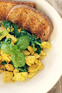 Spinach & Mushroom Tofu Scramble - Use GF soy or tamari sauce and GF Worcestershire sauce for a gluten free, dairy free, and egg free scramble.