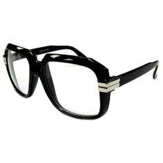 c0e75414b18b Run DMC Rapper Retro Large Clear Lens Eye Glasses Black Private Label