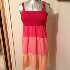 """Tube Top Sundress with straps Dress or swimsuit cover up. Red, orange, coral & peach layers. Straps are not adjustable. Neckline to hem 30"""". Straps 16"""". Faded Glory Dresses Midi"""