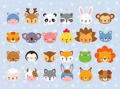 Big vector set with animal faces. Collection of cute baby animals in cartoon style on a blue background. Wild and domestic animals. Cute Animals With Funny Captions, Cute Cartoon Animals, Cartoon Faces, Baby Cartoon, Cartoon Styles, Cute Baby Animals, Cartoon Drawings, Cute Drawings, Baby Animal Drawings